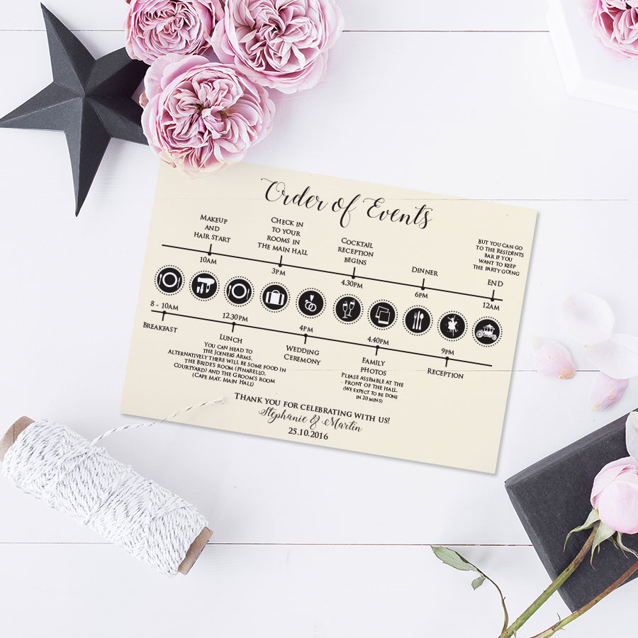 Helen scott design wedding and event stationery order of the day timeline monicamarmolfo Choice Image