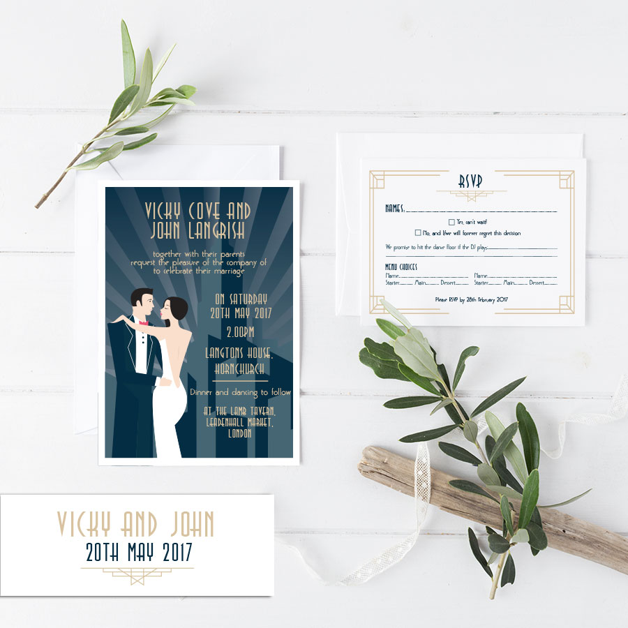 All that jazz wedding invitation helen scott design shop now all that jazz stopboris Image collections