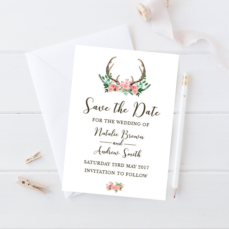 stag head save the date