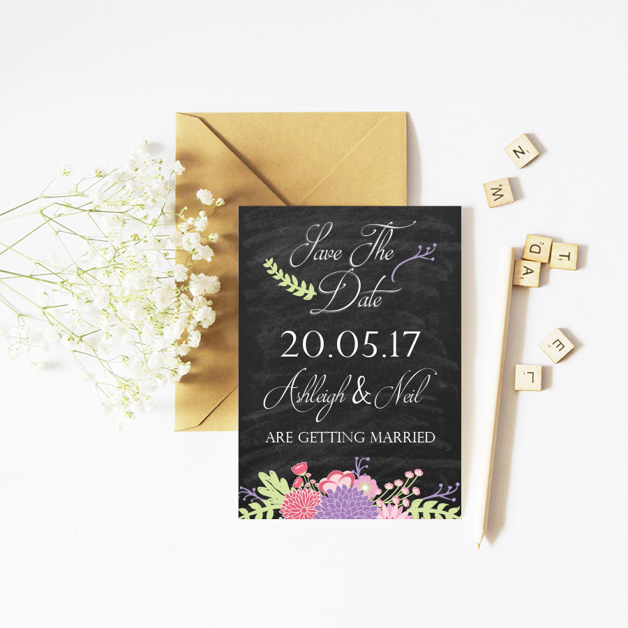 Flower chalkboard save the date