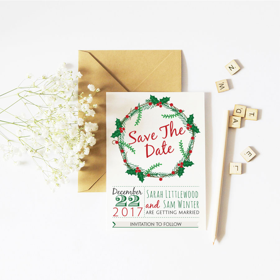 Christmas flowers save the date