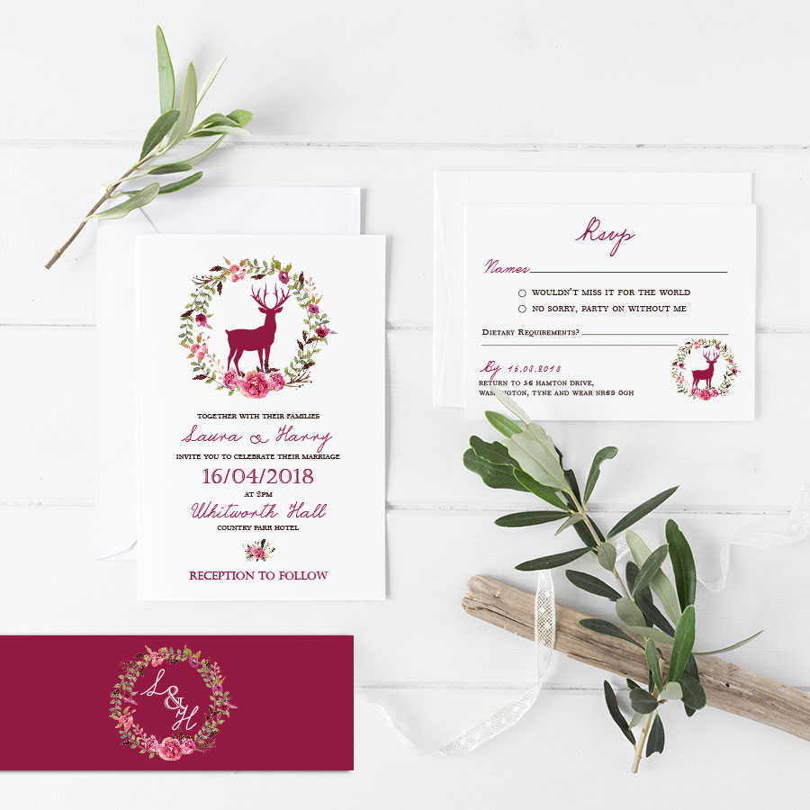 Floral Stag Invitation