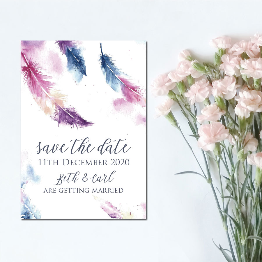 watercolour Feather Save the Date