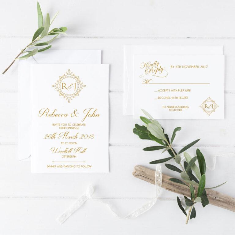 crest wedding invitation