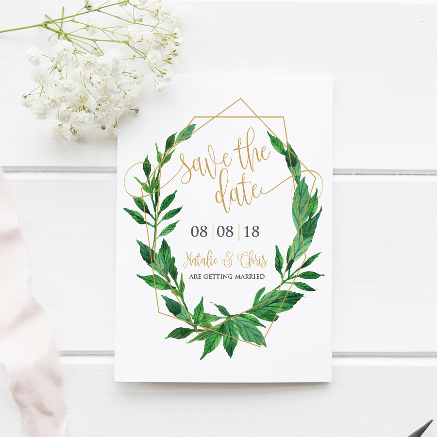 Greenery Geometric Save the Date