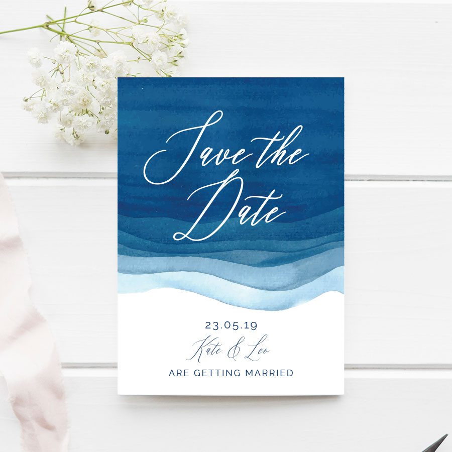 Blue Watercolour Save the Date