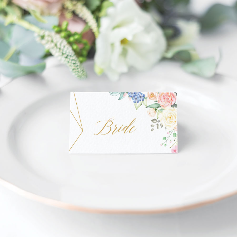 Geometric Flower Place Card