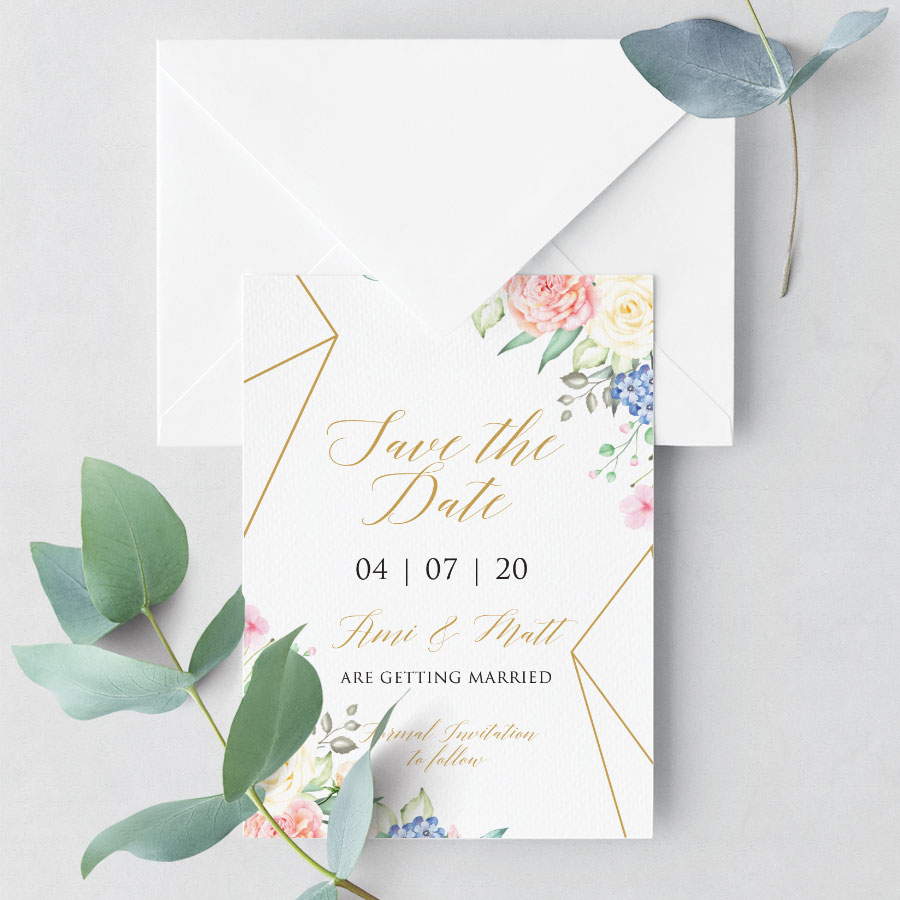 Geometric Flower Save the Date